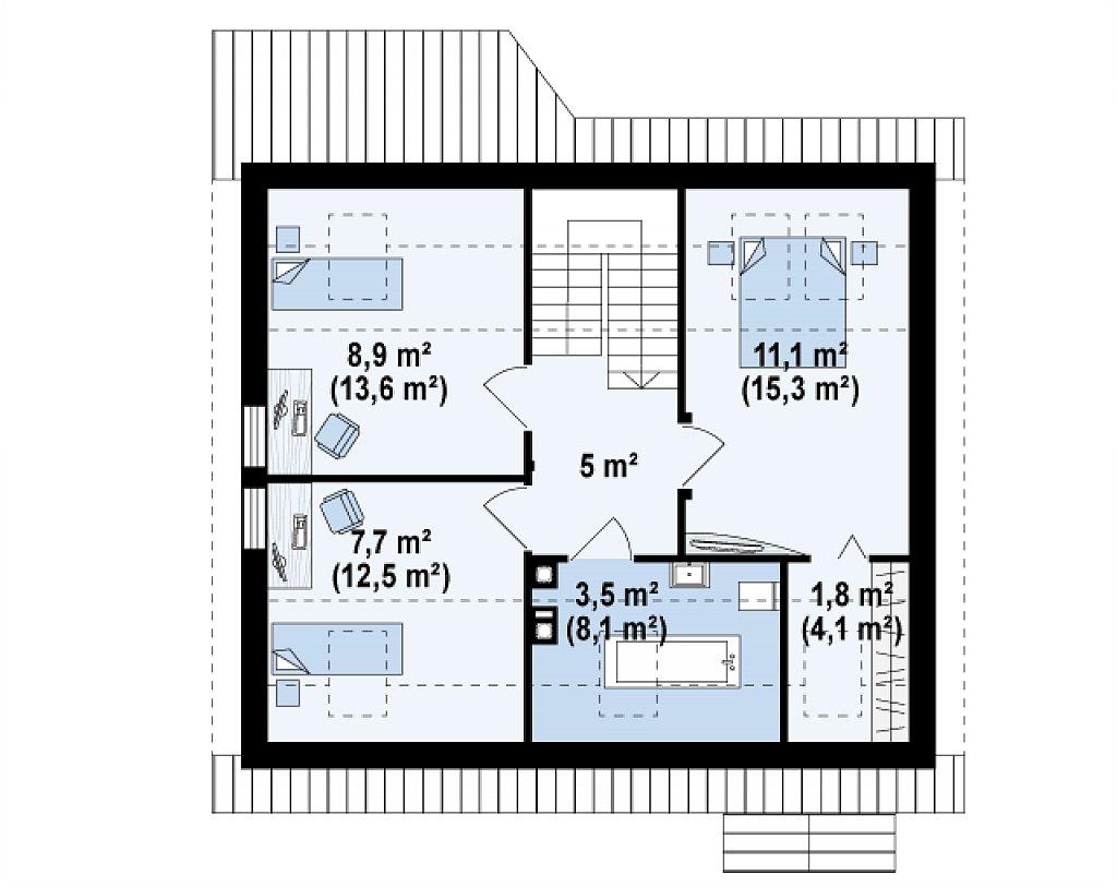 Простой и экономичный дом с мансардой и дополнительной комнатой на первом этаже. план помещений 2