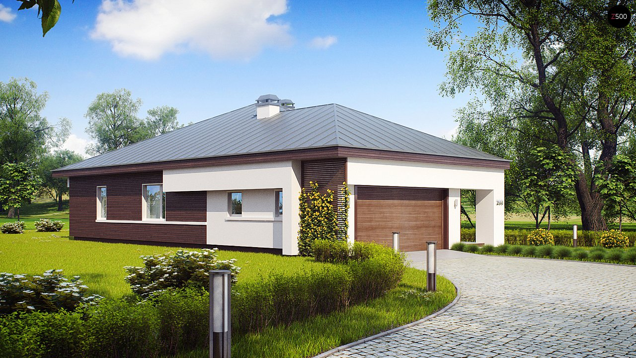 Удобный одноэтажный дом с гаражом для двух автомобилей, с большой площадью остекления в дневной зоне. 6