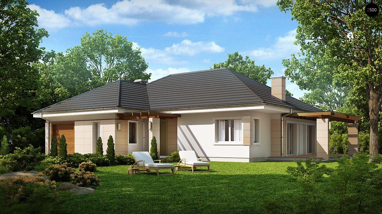 Практичный одноэтажный дом с гаражом для одной машины и возможностью адаптации чердачного помещения. - фото 1