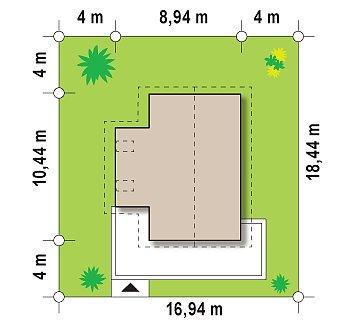 Компактный двухэтажный дом с большими окнами, подходящий для узкого участка. план помещений 1