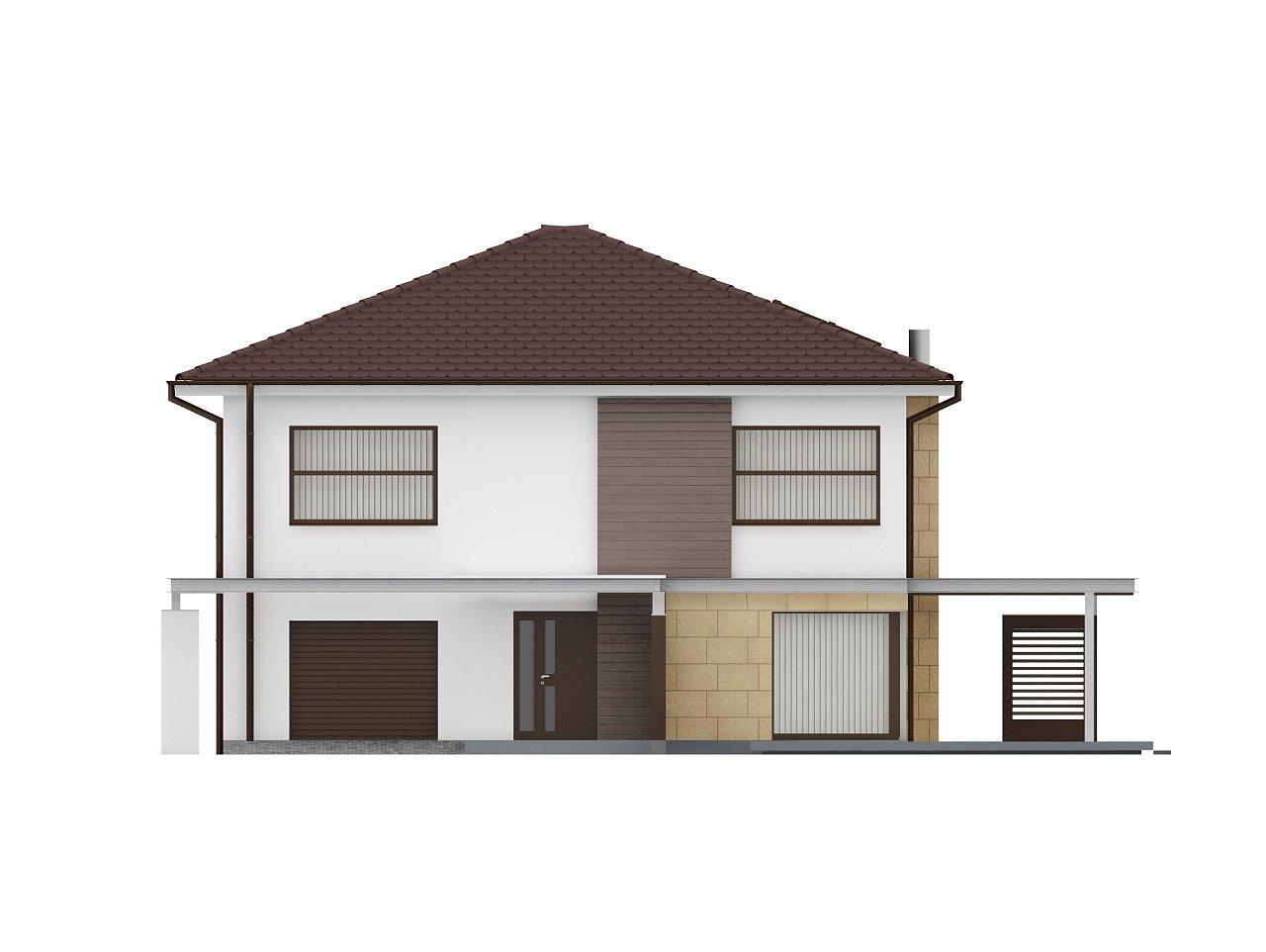 Двухэтажный дом простой формы со вторым светом над гостиной и встроенным гаражом. - фото 3