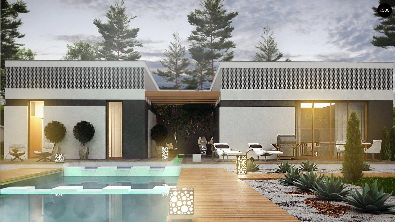 Проект дома в современном стиле с закрытой террасой - фото 9