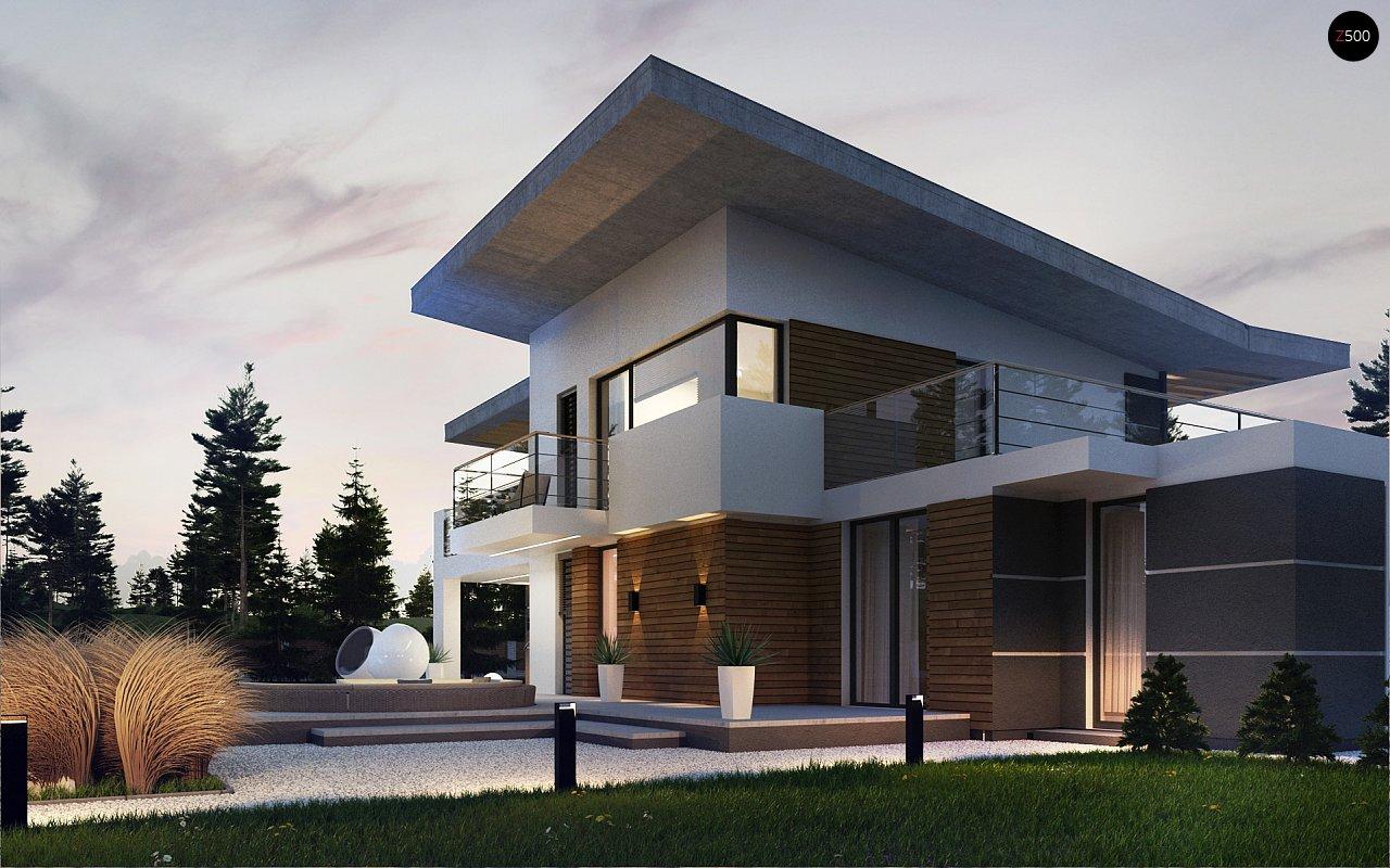 Современный двухэтажный дом с гаражом и террасой, спальней на первом этаже и ванной комнатой 4