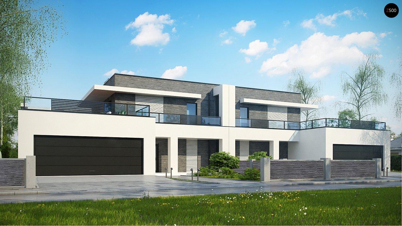 Современный проект домов-близнецов с большим гаражом и террасой на втором этаже. 1