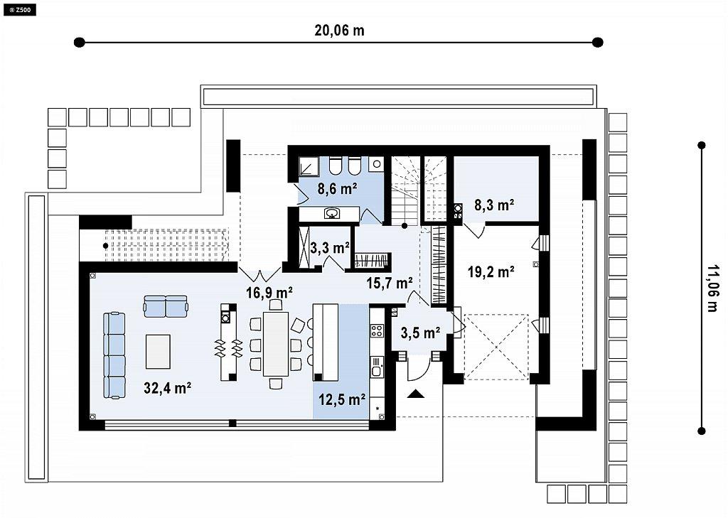 Стильный дом в современном стиле с просторной террасой на втором этаже. план помещений 1
