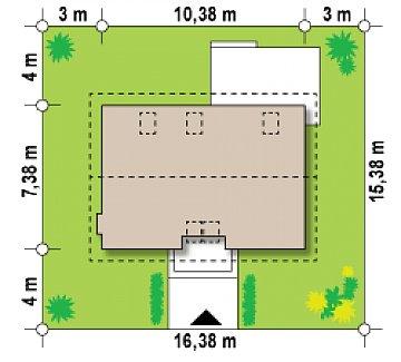 Практичный дом для небольшого участка, простой в строительстве, дешевый в эксплуатации. план помещений 1