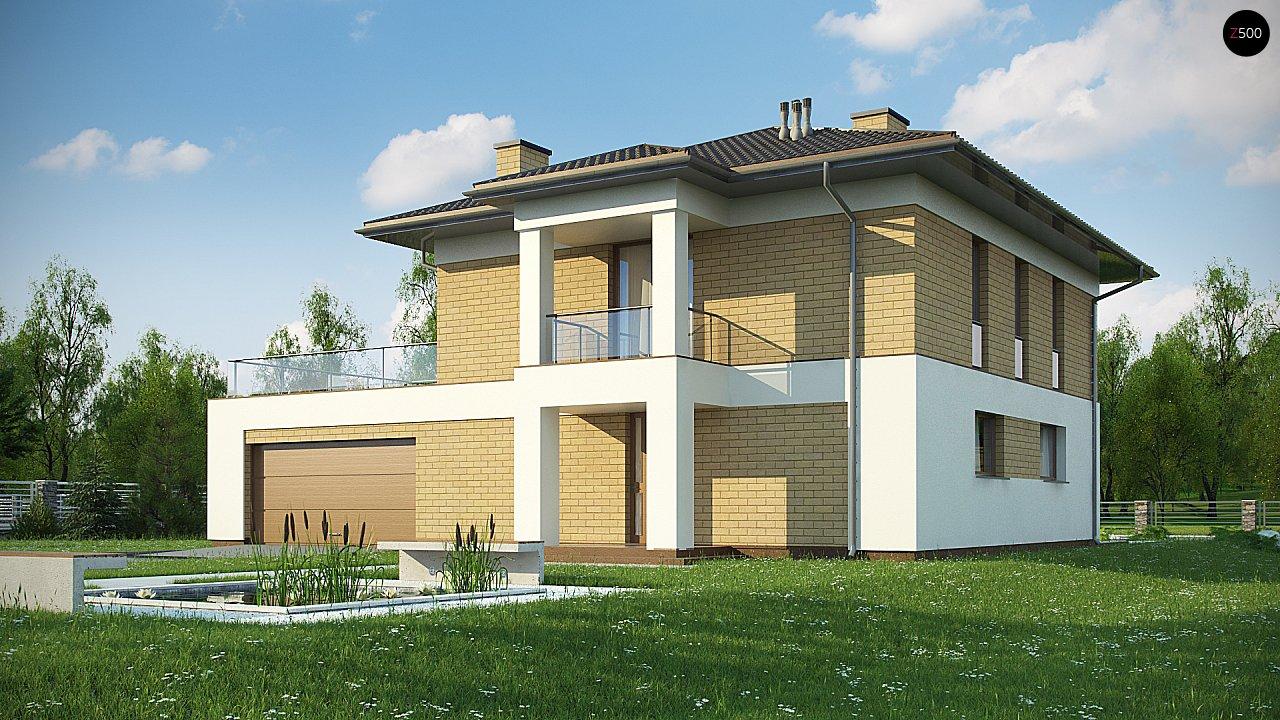 двухэтажный дом с гаражом на две машины в классическом стиле. 2