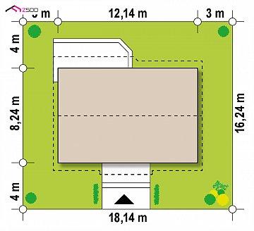 Проект одноэтажного дома традиционной формы с современным экстерьером. план помещений 1
