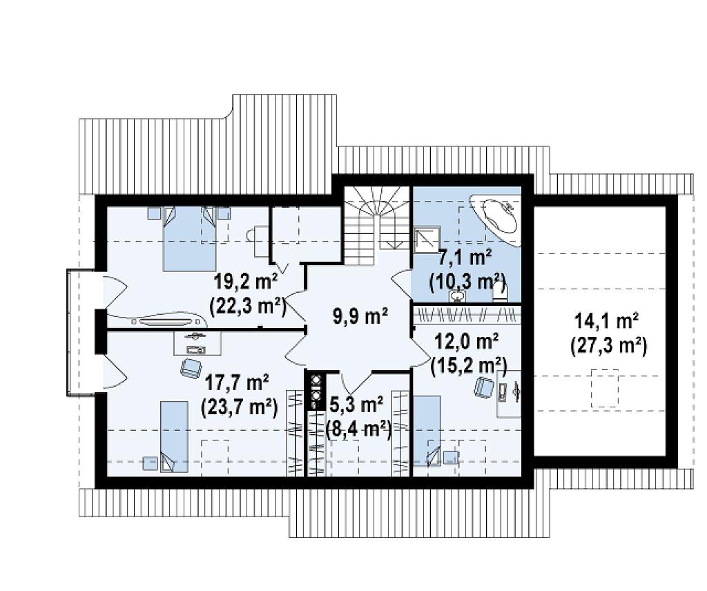 Проект просторного функционального дома с мансардой, гаражом для одной машины и дополнительной спальней на первом этаже. план помещений 2