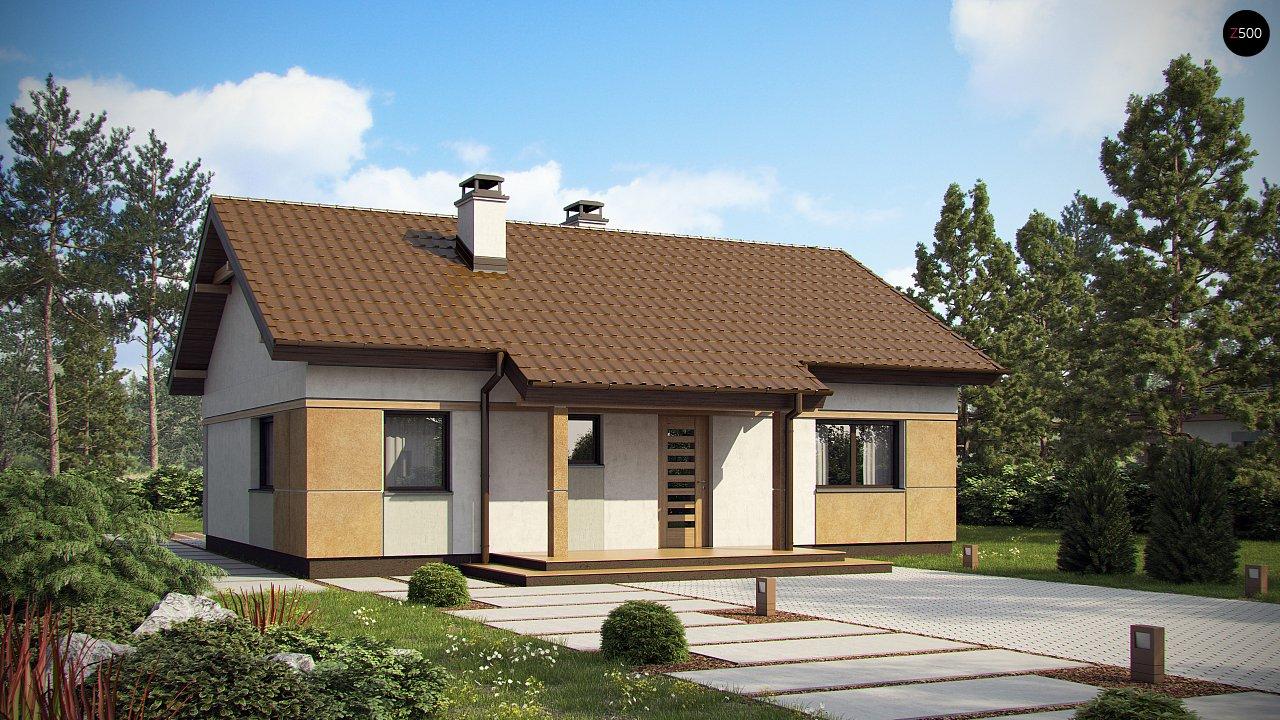 Компактный, уютный одноэтажный дом с двускатной крышей. 1