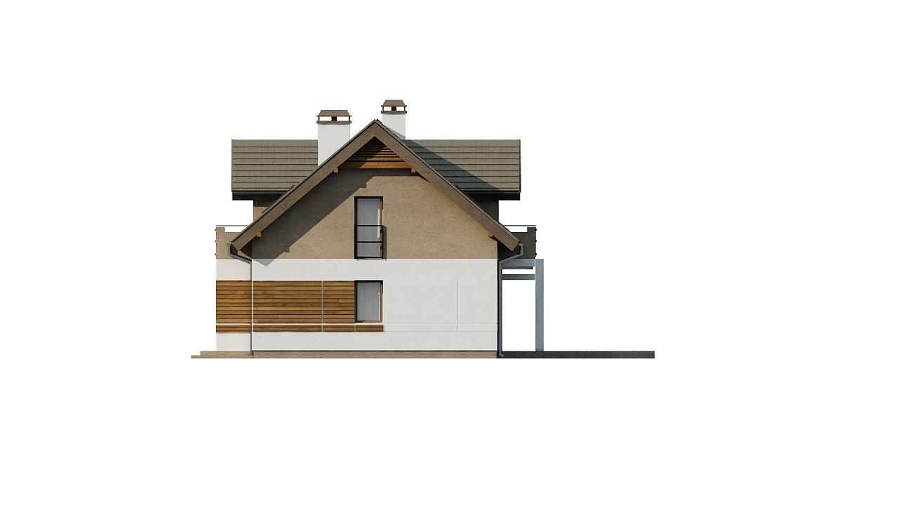 Проект функционального уютного дома с мансардными окнами и оригинальной отделкой фасадов. 19