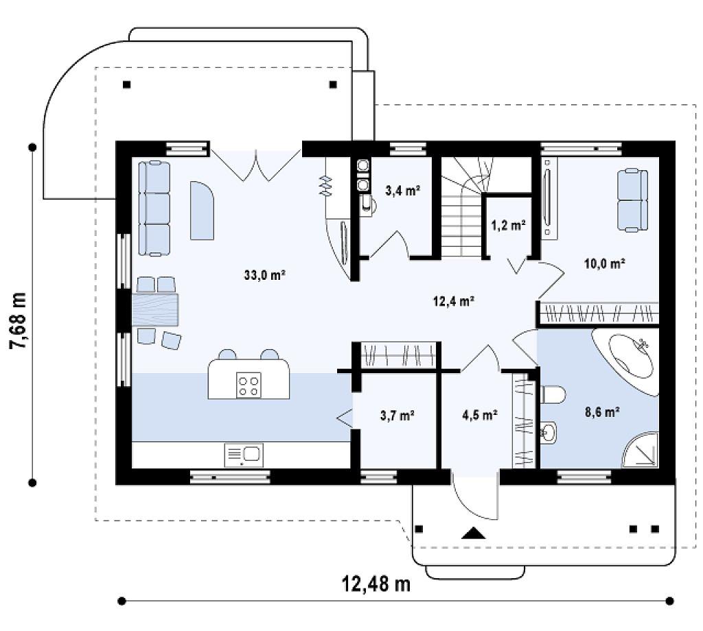 Традиционный дом с кабинетом и большой ванной комнатой на первом этаже. план помещений 1