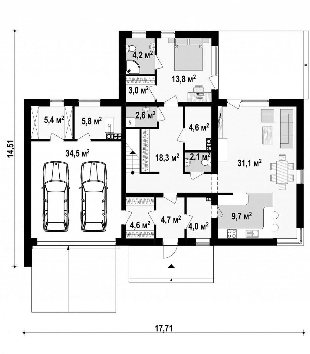 Комфортная резиденция, современный дизайн, оптимальная планировка помещений. план помещений 1
