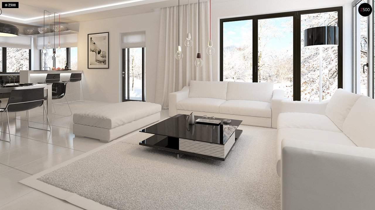 Проект просторного двухэтажного дома для симметричной застройки с террасой над гаражом. 4
