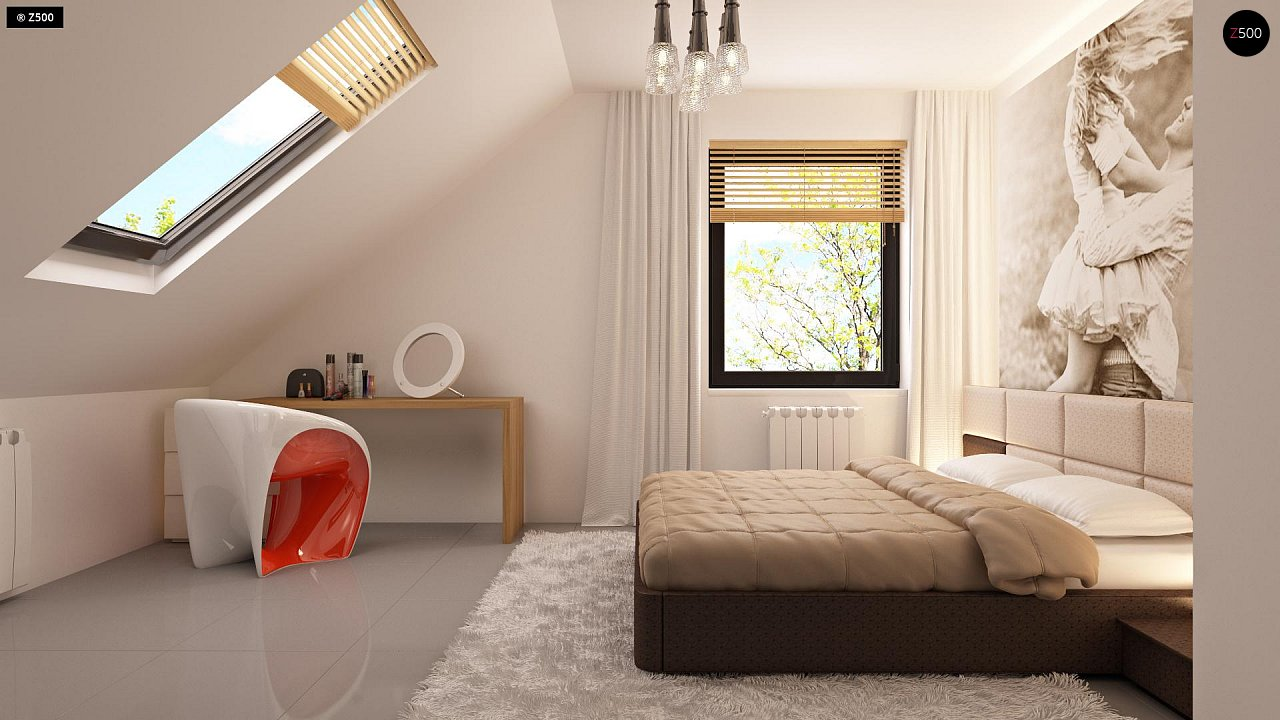 Проект функционального дома с эркером в столовой дополнительной спальней на первом этаже. 16