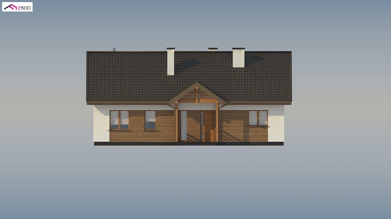 Аккуратный одноэтажный дом с деревянной отделкой на фасадах. 17