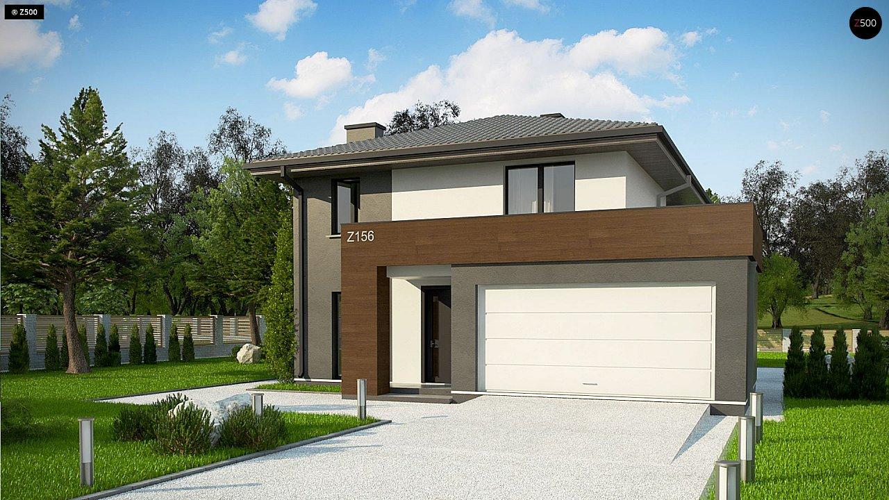 Уменьшенная версия проекта z156 с гаражем и стильным фасадом 2