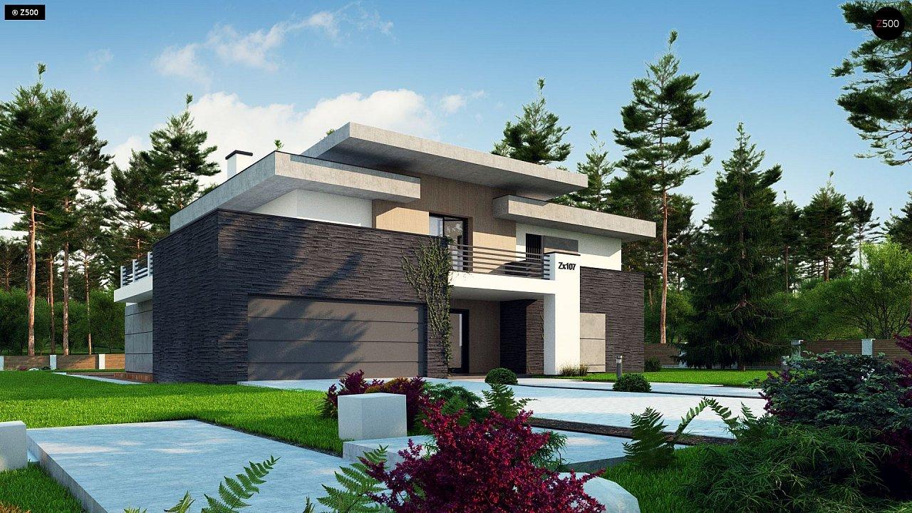 Красивый и комфортный дом с плоской кровлей, гаражом на две машины и просторными террасами. - фото 5