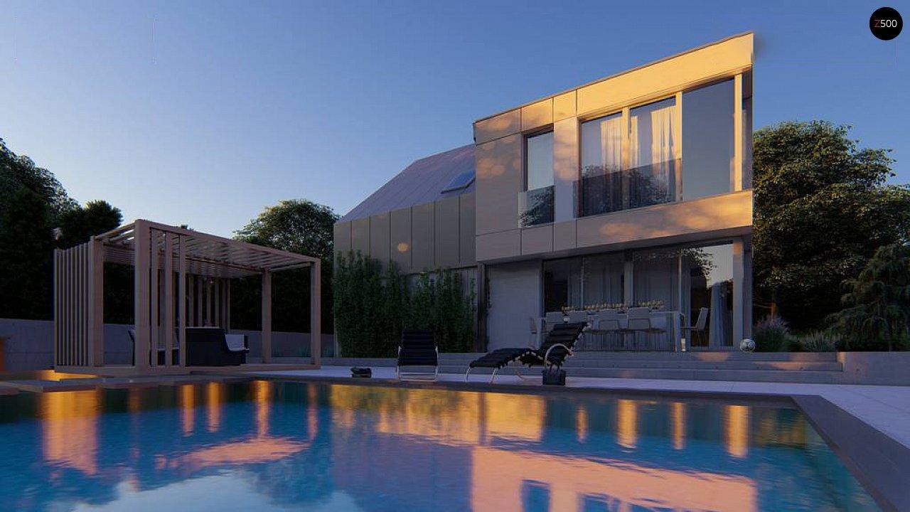 Cовременный проект дома с двускатной крышей и просторными большими мансардными окнами 2