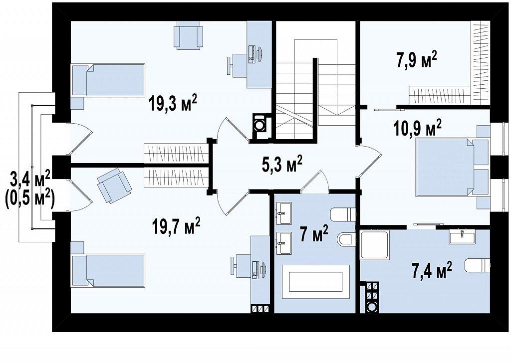 Мансардный дом, с деревом на фасадах и кабинетом на первом этаже. план помещений 2