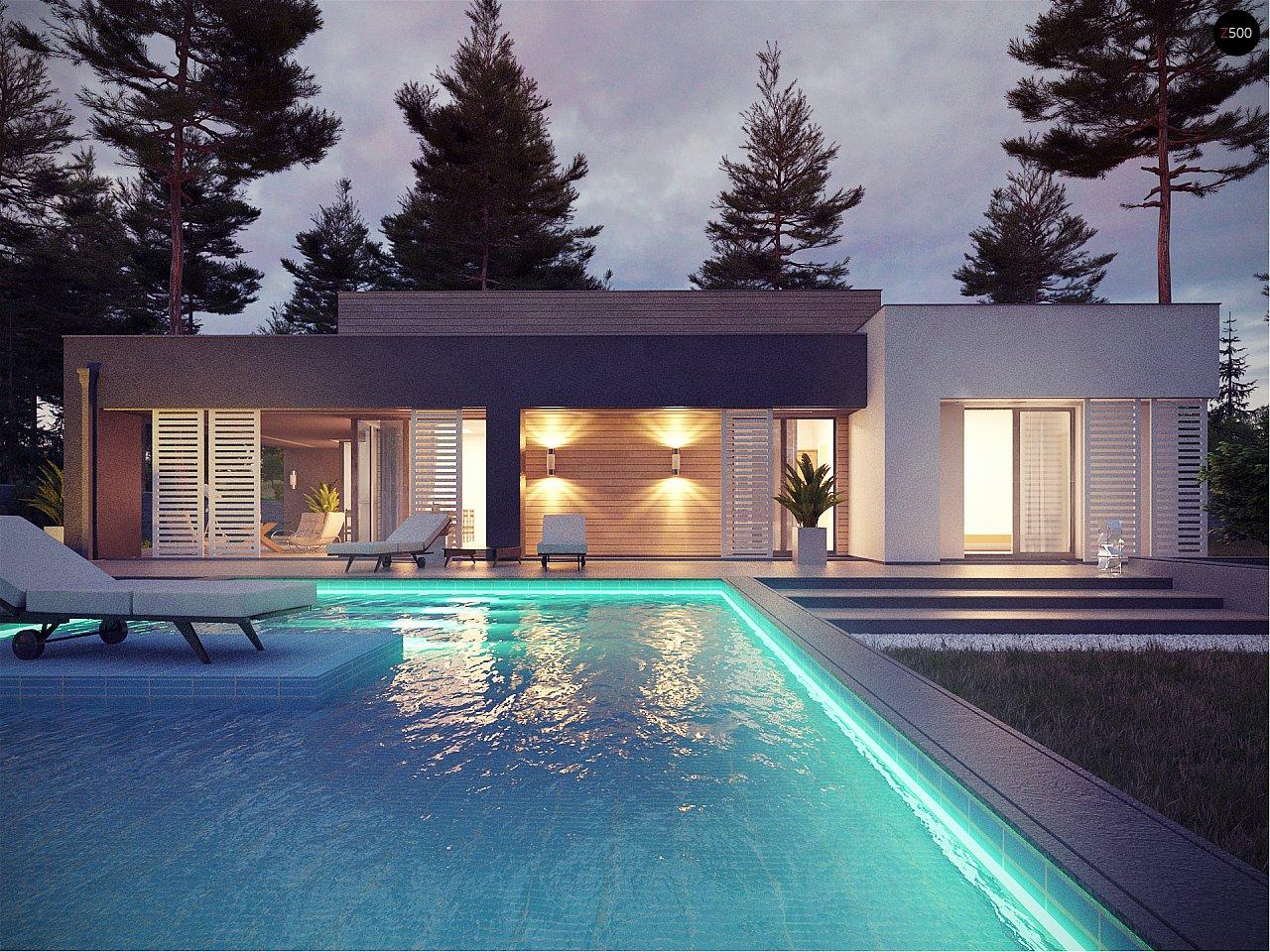 Одноэтажный дом в стиле хай-тек с плоской кровлей и большой площадью остекления. 2