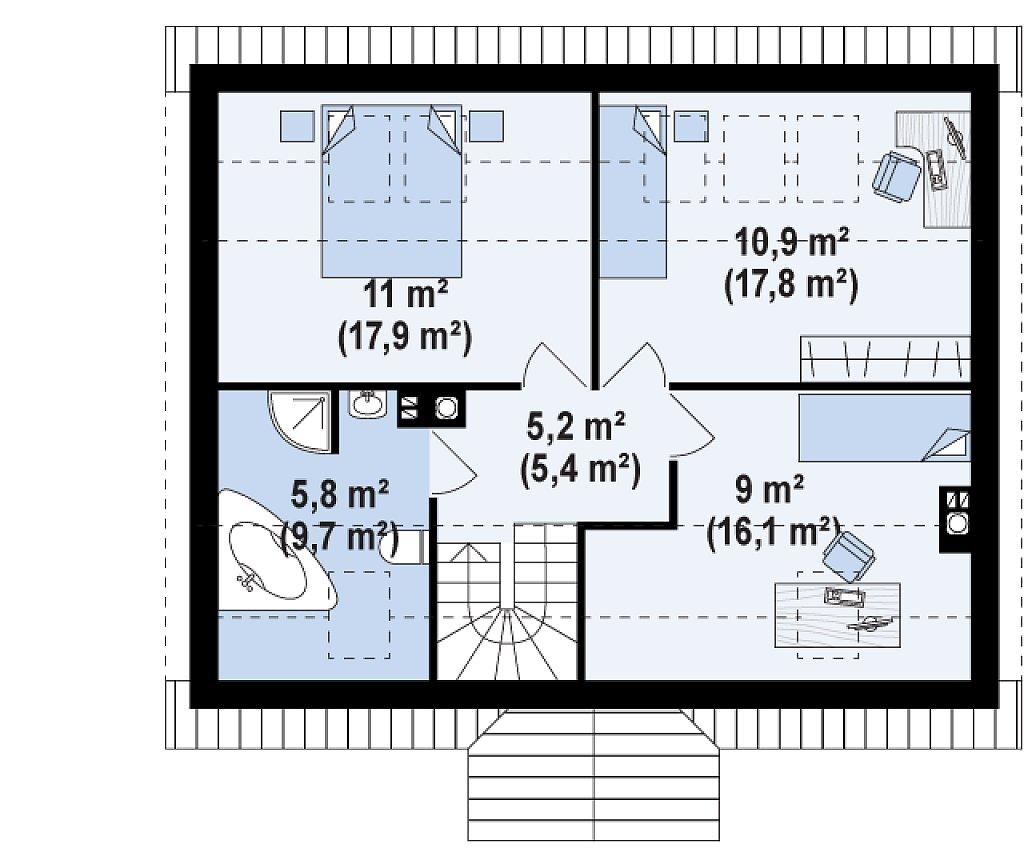 Функциональный и уютный дом с дополнительной спальней на первом этаже. Простой и экономичный в строительстве. план помещений 2