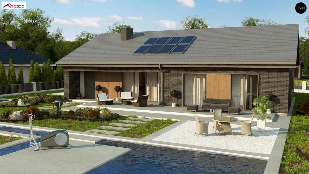 Одноэтажный дом с 4 спальнями, гаражом и 2-х скатной крышей 2