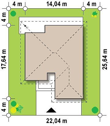 вариант проекта Z96 с измененной формой крыши и с крытой террасой. план помещений 1