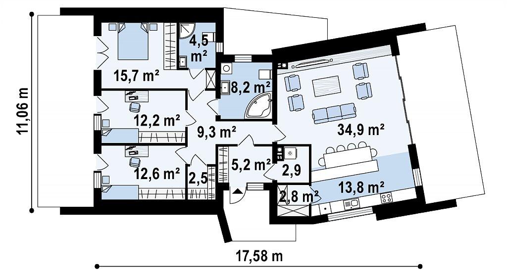 Современный одноэтажный дом в стиле минимализм план помещений 1