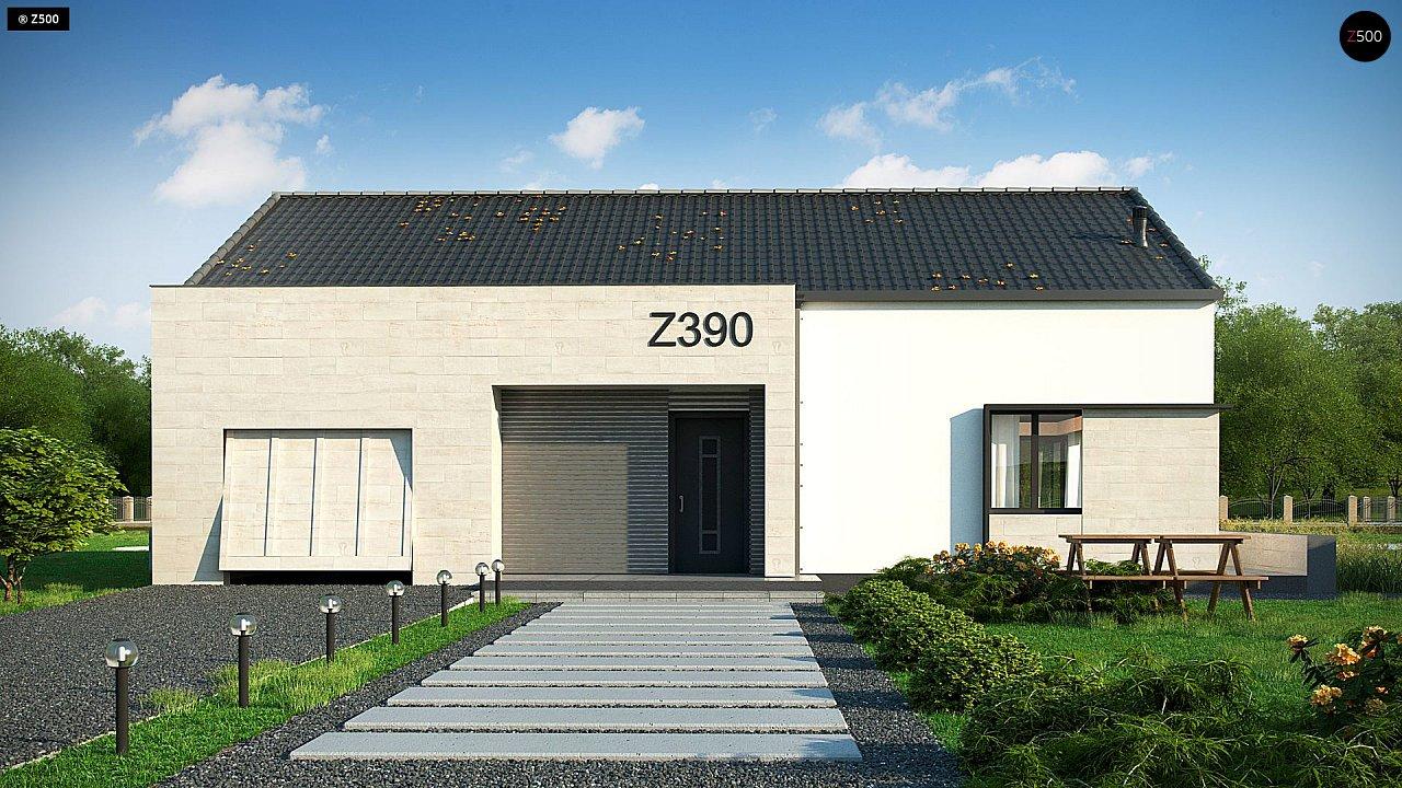 Проект одноэтажного дома Z390 с гаражом на 1 машину и красивым белым фасадом 5