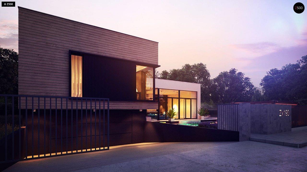 Проект современного дома с плоской кровлей и подземным гаражом. 5