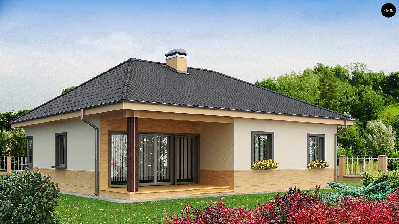 Практичный одноэтажный дом с 4-х скатной кровлей и угловым окном в кухне. 1