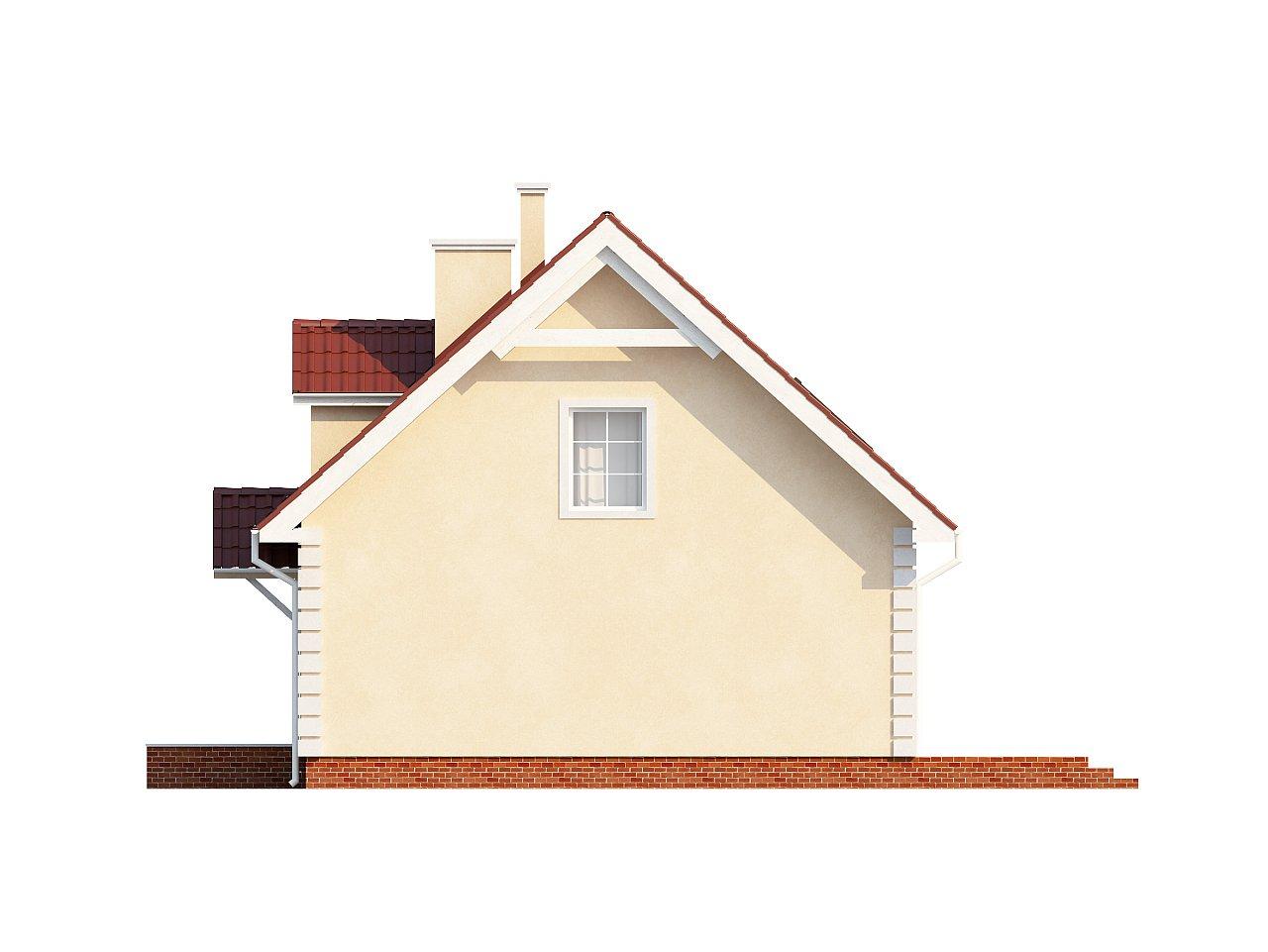 Компактный дом в традиционном стиле с двускатной крышей и красивыми мансардными окнами. - фото 8