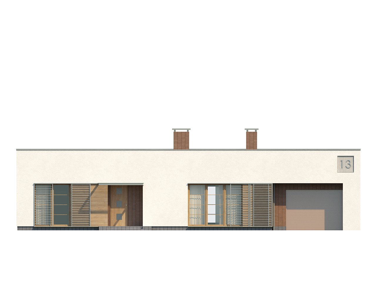 Одноэтажный дом с плоской крышей, со светлым функциональным интерьером и гаражом. 7