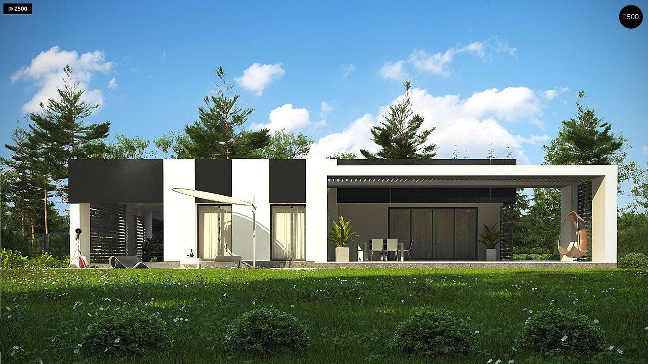 Проект современного одноэтажного дома с черно-белыми фасадами и открытым гаражом на 2 машины 6