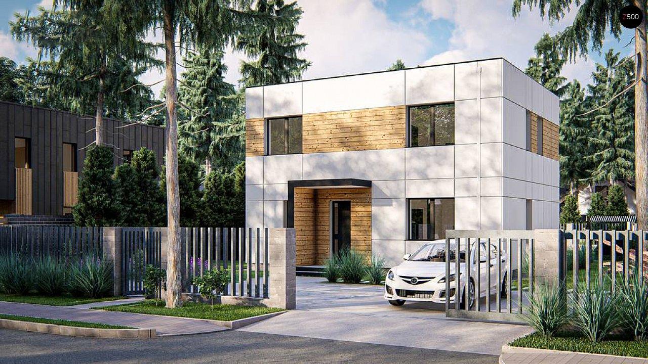 Современный двухэтажный дом с плоской крышей 1