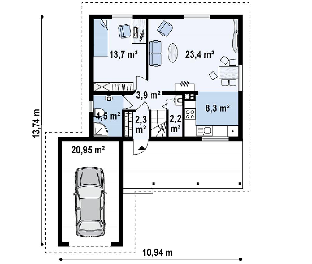 Вариант проекта Z39 c деревянными фасадами и гаражом расположенным с левой стороны. план помещений 1