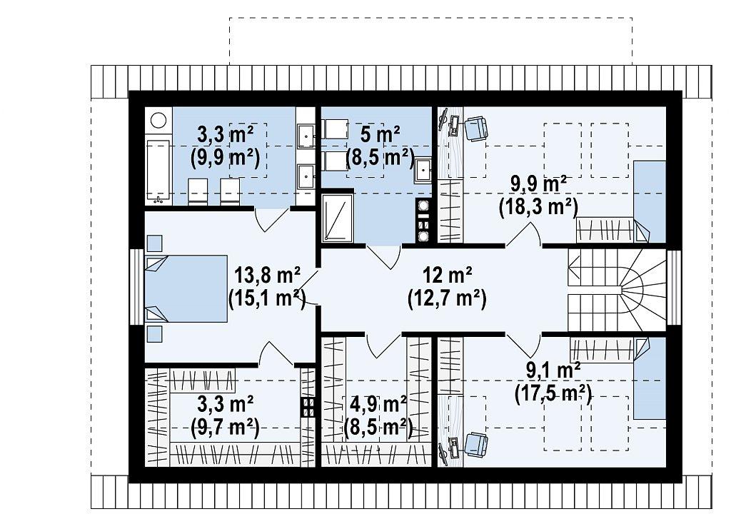Классический мансардный дом с двускатной кровлей и 5 комнатами. план помещений 2