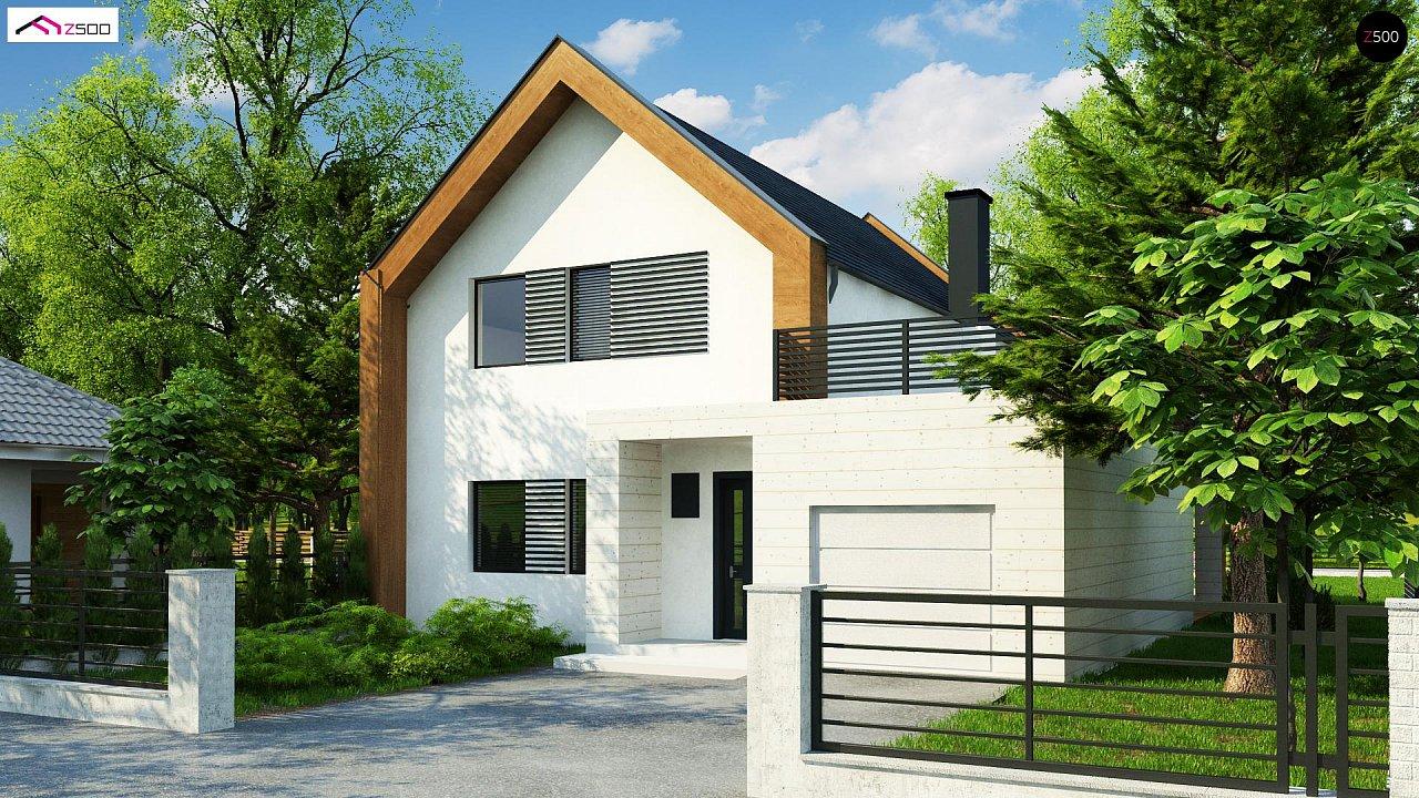 Современный дом с двускатной крышей и гаражом для одного пользователя 2