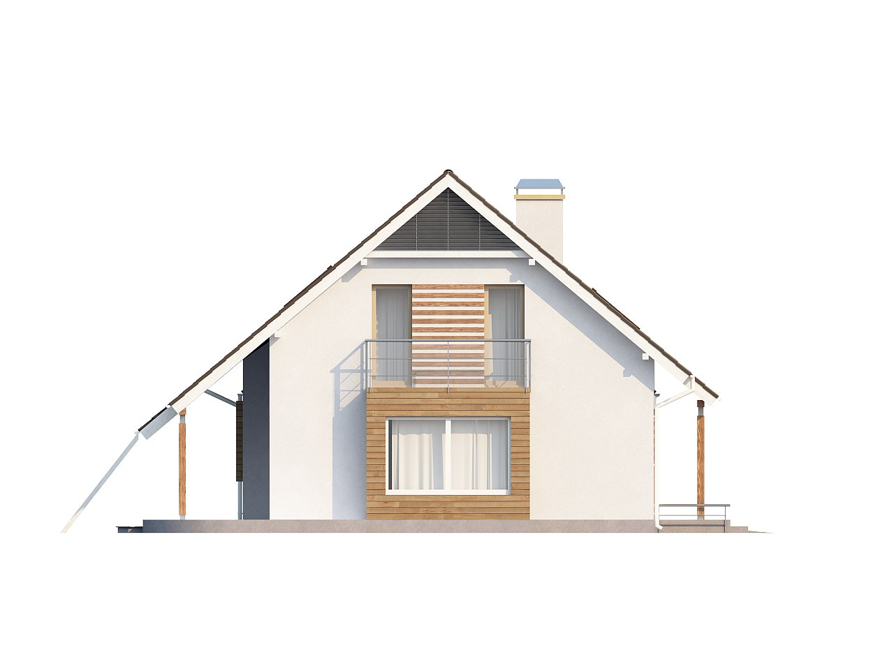 Проект просторного функционального дома с мансардой, гаражом для одной машины и дополнительной спальней на первом этаже. 5
