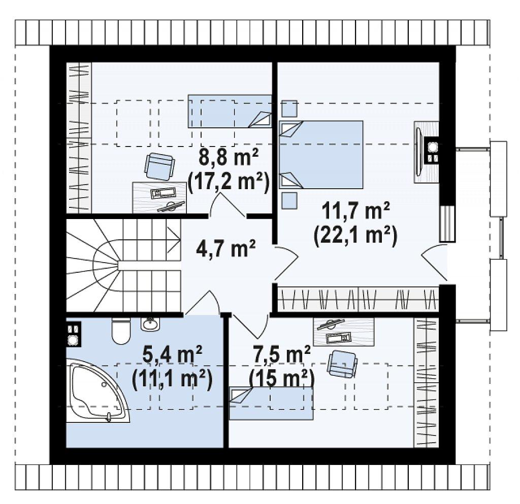 Проект простого в строительстве дома с двускатной кровлей. план помещений 2
