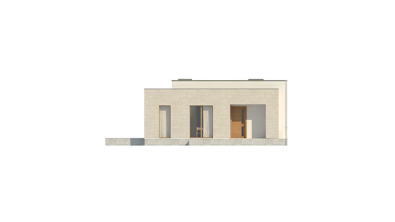 Одноэтажный дом в современном стиле, с большими застекленными окнами 18