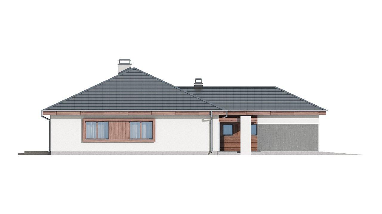 Проект одноэтажного дома с многоскатной кровлей, с фронтальным гаражом. - фото 14
