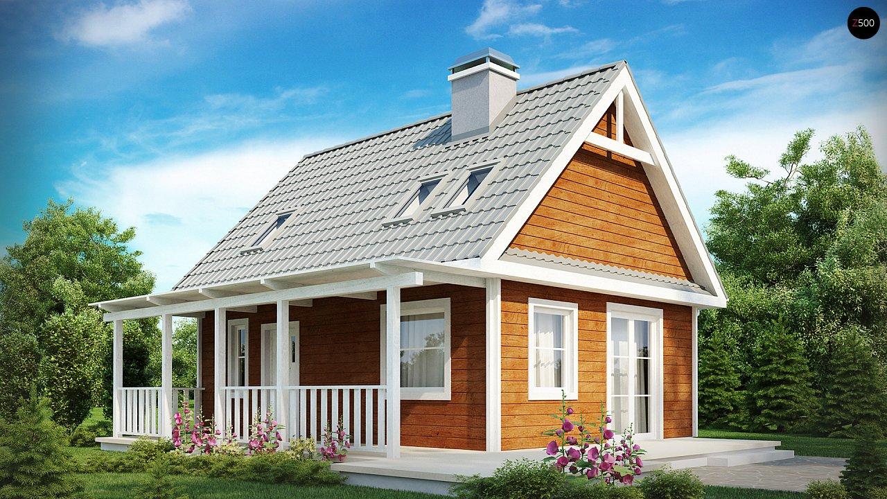 Маленький, уютный дом с мансардой, двускатной крышей и c фронтальной террасой. - фото 1