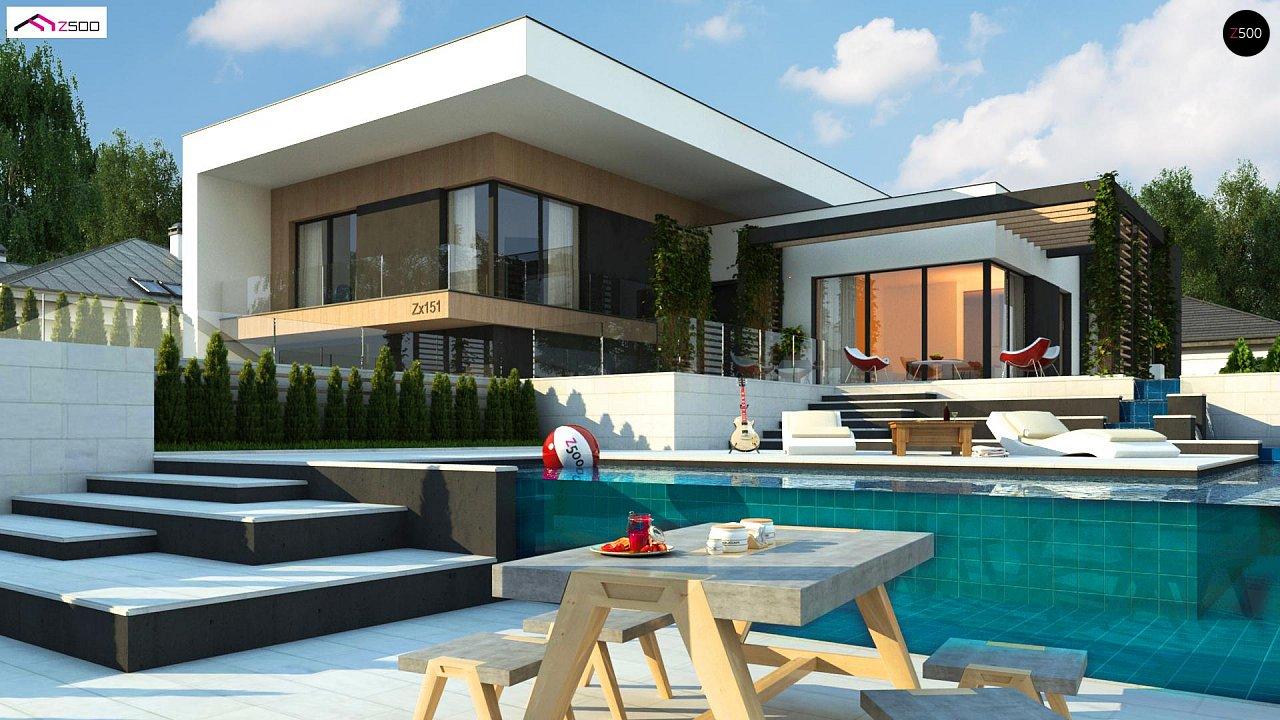 Проект современного двухэтажного дома с большой площадью. остекления. - фото 2