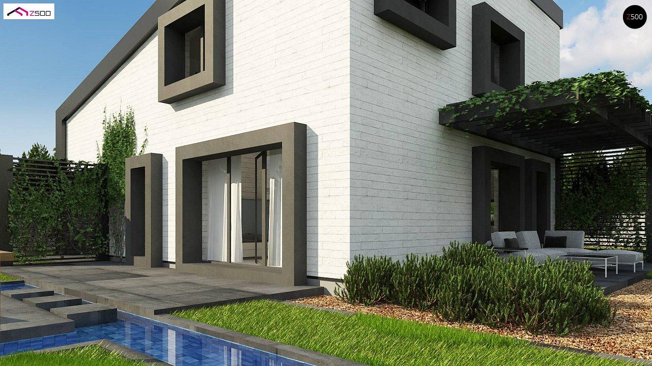 Проект двухэтажного дома с открытой дневной зоной и современным экстерьером. 6