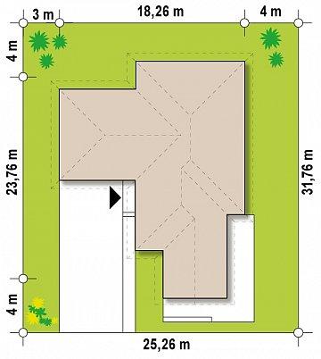 Одноэтажный дом в современном стиле, с многоскатной крышей и гаражом на два автомобиля. план помещений 1