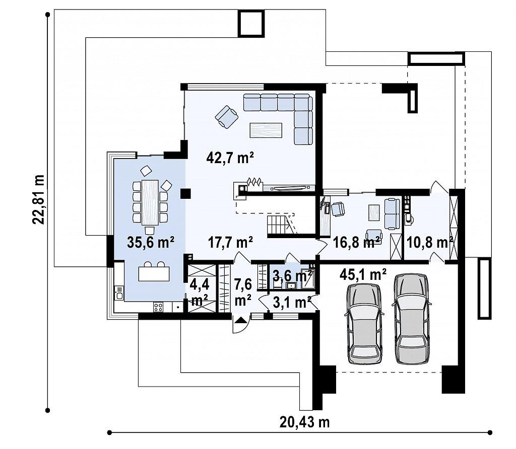 Комфортный современный двухэтажный особняк с сауной на втором этаже план помещений 1