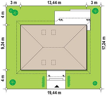 Одноэтажный дом в традиционном стиле с возможностью обустройства чердачного помещения. план помещений 1