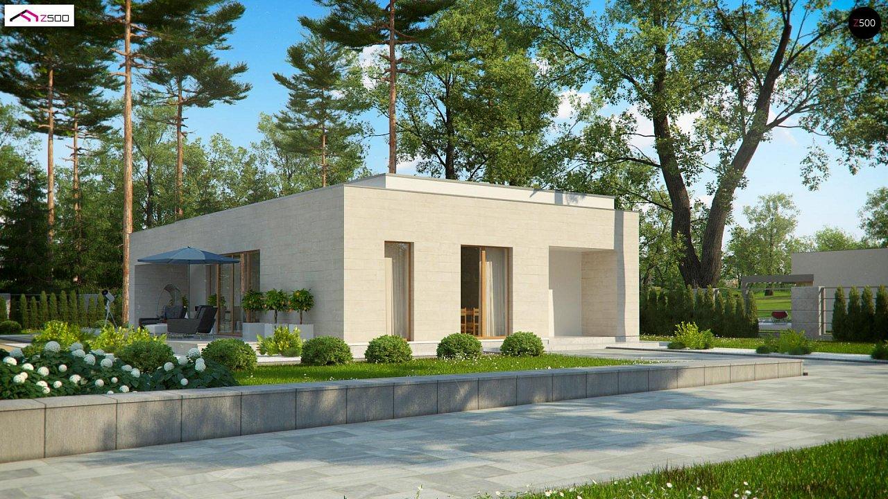 Одноэтажный дом в современном стиле, с большими застекленными окнами 1